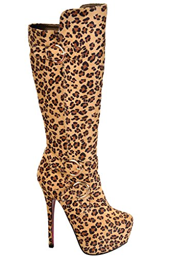Lolli Couture SUEDE MATERIAL SIDE ZIPPER BELT ACCENT KNEE HIGH HEEL PLATFORM BOOTS Animal Print Mya03 HP0it7a
