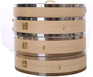 JTKDL 3 Tier Bamboo Steamer Basket Natural Bamboo Dumpling Steamer Heavy Duty Cooking with Stainless Steel bands Perfect as a Dim Sum Steamer Dumplings Steamer