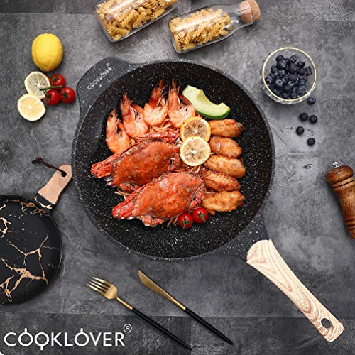 Chinese Wok Nonstick Die-casting Aluminum Dishwasher Safe Scratch Resistant PFOA Free Induction Woks And Stir Fry Pans with Glass Lid 12.6Inch,5.9L,5.6lb - Black by COOKLOVER (Image #2)
