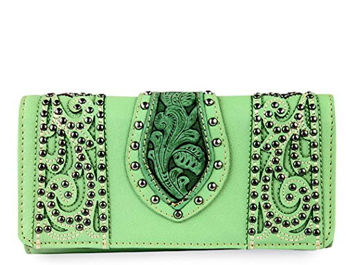 Montana West Studded Trifold Wristlet Wallet W/Tooled Leather Accent
