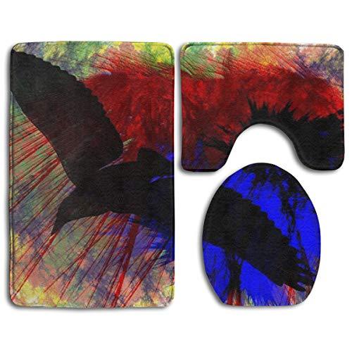 Bird Take Off Paint Bathroom Rug Sets 3 Piece Non-Slip Floor Mat Contour Rug Toilet Lip Cover -
