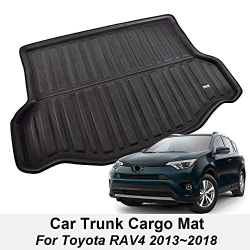 XUKEY for Toyota RAV4 2013 2014 2015 2016 2017 2018 Boot Mat Rear Trunk Boot Liner Cargo Floor Tray Carpet Mud Pad Kick Guard Cover Protector Decoration Car Accessories (Carpet Rav4 Trunk)