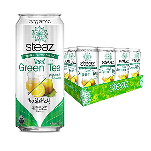 Steaz Lightly Sweetened Iced Green Tea Half and Half, Green Tea and Lemonade, 16 Ounces 12 Pack (Green Tea Peach Cans)