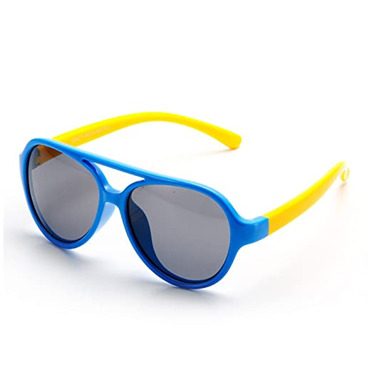 26d0c6ac8e3 Amazon.com  IWOCH Rubber Flexible Kids Polarized Sunglasses for Baby Girls  Age 3-10 Blue Yellow  Baby