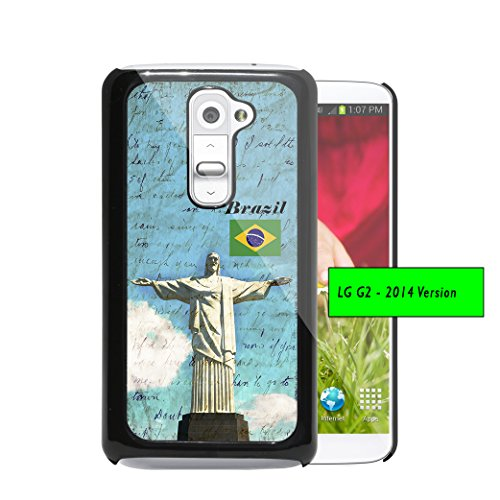 Christ Redeemer Statue Brazil Flag Vintage Postcard Letter (1st Generation) LG G2 Hard Plastic Phone Case - NOT COMPATIBLE WITH VERIZON CARRIER ()