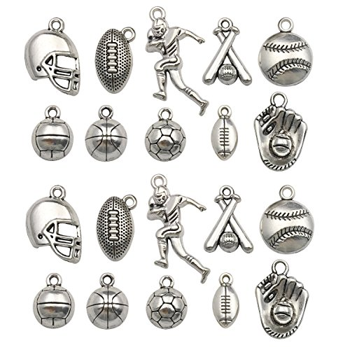 Ball Sports Charms-40pcs Alloy Ball Games Sports For Crafting DIY Necklace Earrings Bracelet Jewelry Making Accessaries