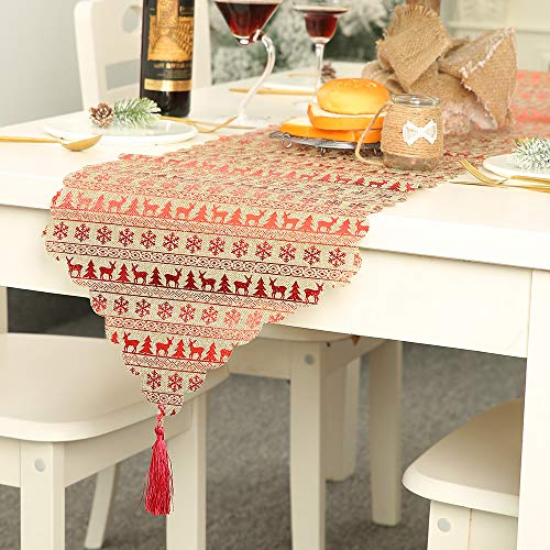 New hot sale Christmas Tablecloth-Christmas decorations linen printed table flag table decoration ornaments tablecloth placemat (D) (Sale Christmas Placemats)