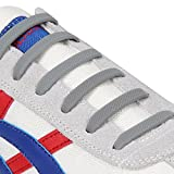 INMAKER 3 Sizes Elastic No Tie Shoelaces for Adults Kids Cool Multi-color Silicone Shoelaces for Sports Fans of All Ages (Adults Size/Gray)