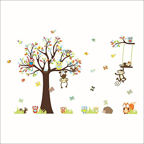 Rainbow Fox Cartoon Forest Animal Monkey Wall Stickers Murals Owls Swing On Tree Nursery Wall Stickers DIY Posters Vinyl Removable Art Wall Decals for Kids Room
