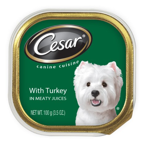 Cesar Canine Cuisine with Turkey in Meaty Juices for Small Dogs, 3.5-Ounce Trays (Pack of 24), My Pet Supplies