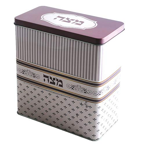 - Decorated Tin Box with Lid for Storing Passover Matzah (Purple)