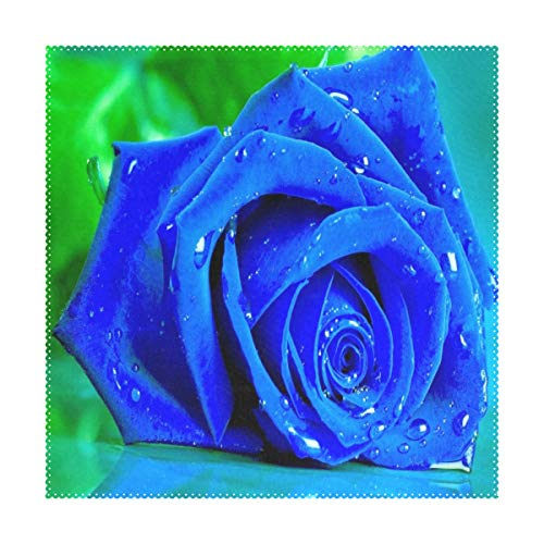 Placemats Blue Rose Square Place Mats for Dining Table Set Heat Resistant Washable Polyester Kitchen Table Mats 1 piece -