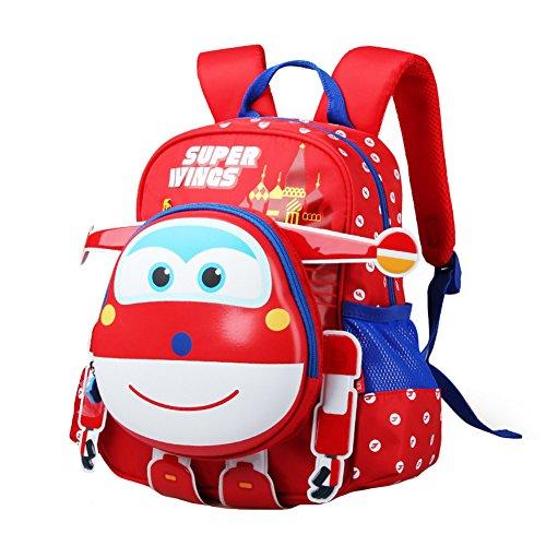 YOURNELO Boy's Cool Cartoon Super Wings Rucksack School Backpack Bookbag (Red)