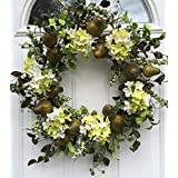 Wreaths For Door Sir Bartlett Silk Door Wreath 22 Inches Artificial Green Pears Silk Hydrangeas Indoor Outdoor Farmhouse Front Door Wreath Spring Summer Or Fall