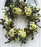 Sir Bartlett Silk Door Wreath 22 Inches Handmade with Artificial Green Pears and Silk Hydrangeas Display Outdoors On A Front Door Spring Summer Or Fall For Sale
