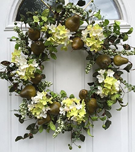 Sir Bartlett Silk Door Wreath 22 Inches Handmade With Artificial Green Pears And Silk Hydrangeas Display Outdoors On A Front Door Spring Summer Or Fall (Fall Pear)