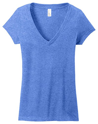District Juniors Very Important T-Shirt Deep V-Neck, Heathered Royal, Medium -