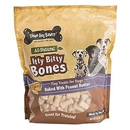Three Dog Bakery Itty Bitty Bones Baked Dog Treats, Peanut Butter, 32 oz