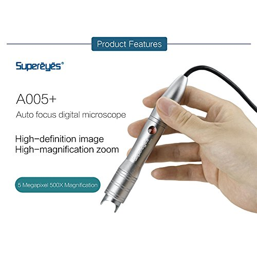 Supereyes A005+ 5.0MP 1 ~ 500X Fine-Auto Focus Handheld USB Digital Microscope Loupe Magnifier with LED Metal Stand