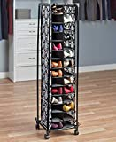 KNL Store Tall Slim Space Saving Stylish Fashionista Shoe Cubby Rolling Storage Unit Cart (Damask)