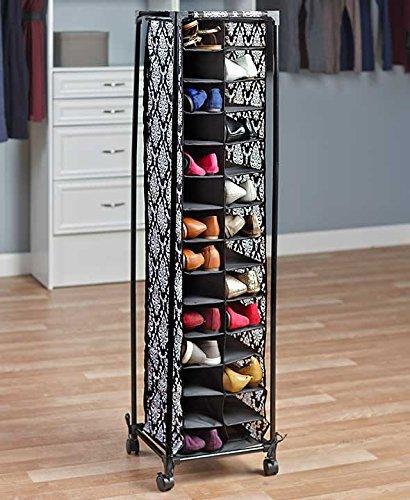 Tall Slim Space Saving Stylish Fashionista Shoe Cubby Rolling Storage Unit Cart (damask)
