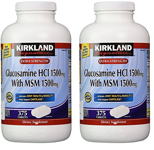 Kirkland Signature Extra Strength Glucosamine HCI 1500mg, With MSM 1500 mg, 375 Count (2 Pack) (Hcl Glucosamine)