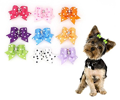 Cute Pet Dog Hair Bows With Rubber Bands Cat Puppy Grooming Bows for Hair Accessories Seven Random Different Colors Pack of 7pcs