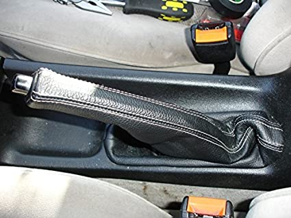 RedlineGoods ebrake Boot Compatible with Volkswagen Passat B4 1995-97 Black Leather-Black Thread