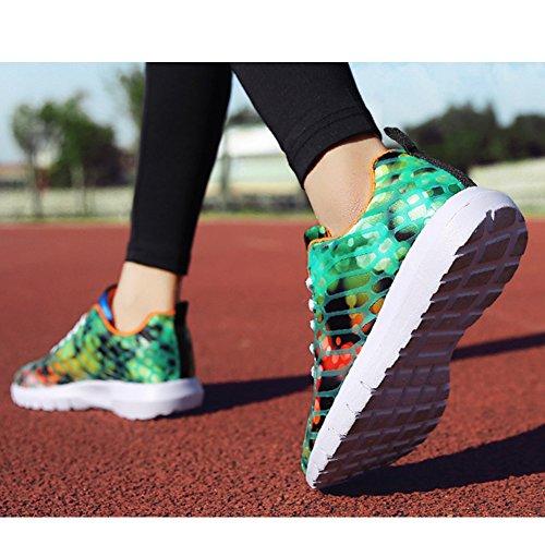 Padgene Chaussures de Sport Running Camouflage Sneakers Mixte Homme Femme Orange et Rouge