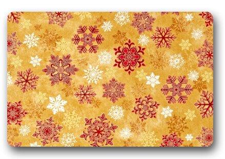Customize Crimson Snowflake Floor Doormat