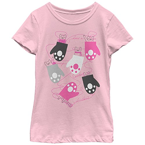 Girls' Christmas Kittens in Mittens Light Pink T-Shirt by Lost Gods