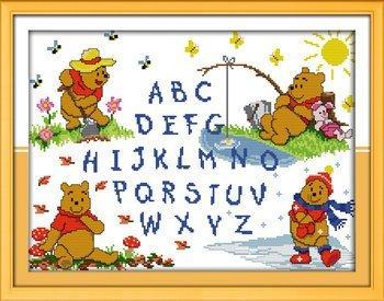 Joy Sunday Cross Stitch kits, Winnie the pooh letters,11CT S
