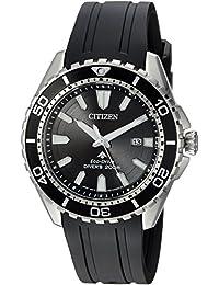 Men's 'Eco-Drive' Quartz Stainless Steel and Polyurethane Diving Watch, Color:Black (Model: BN0190-07E)