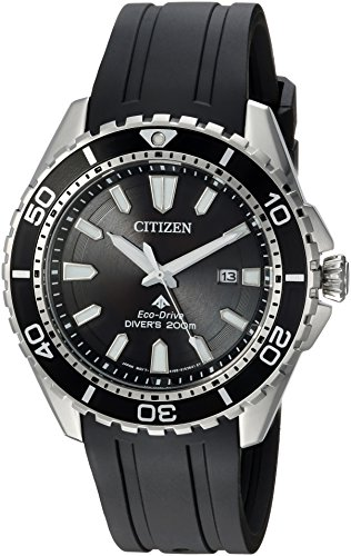 Citizen Men's Eco-Drive Stainless Steel Japanese-Quartz Diving Watch with Polyurethane Strap, Black, 22 (Model: BN0190-07E