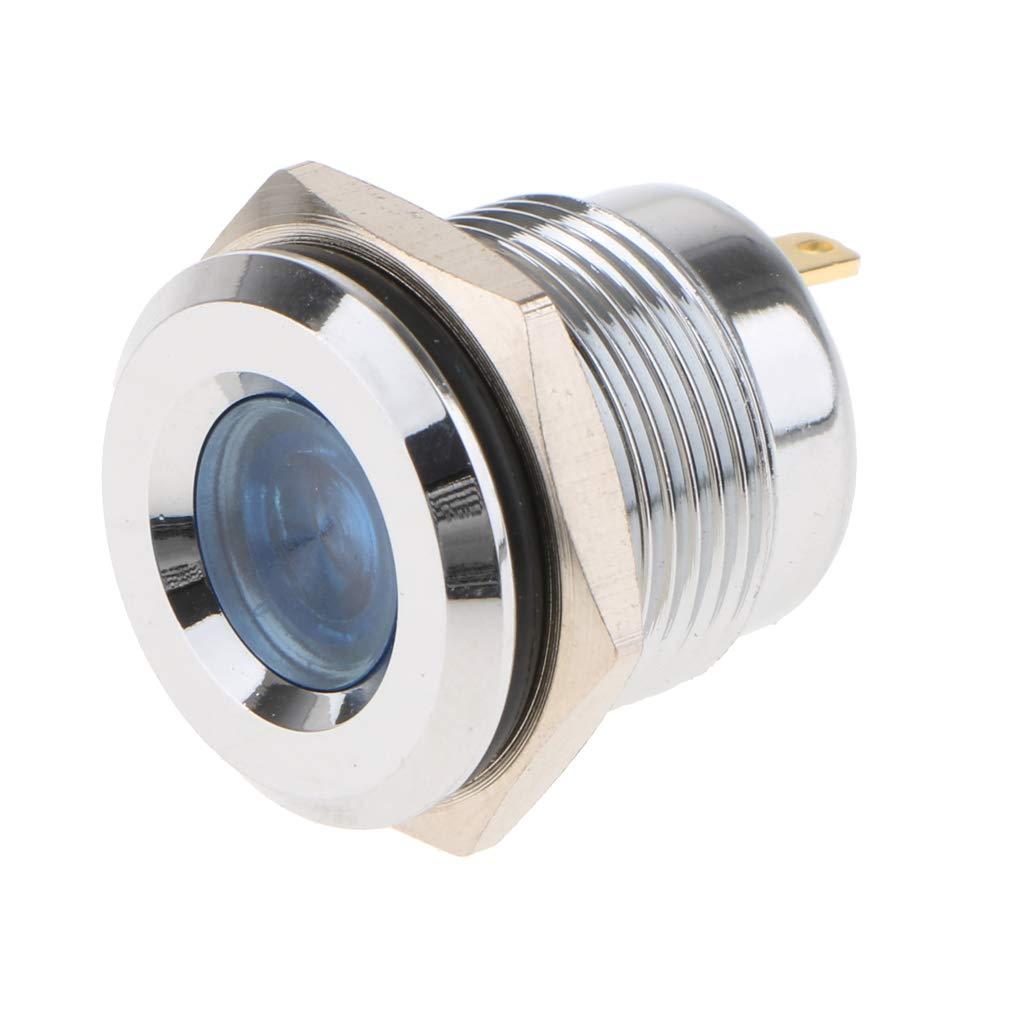 SM SunniMix Indicatore Luminoso Metallo Luce LED Illuminazione Pulsante Accensione Ottone Nichelato Acciaio Inossidabile B