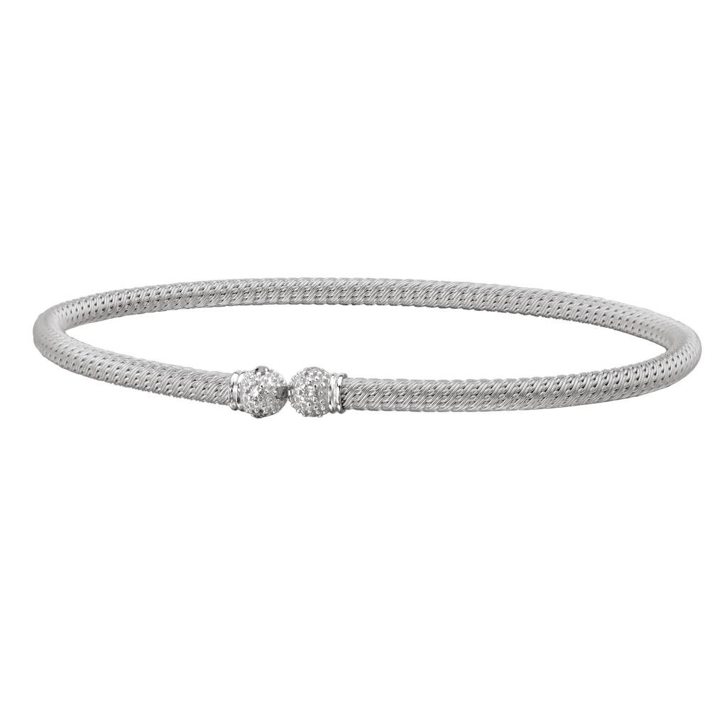 Rhodium over 925 Silver Flexible Cuff with Diamond End-Caps (0.09ctw)- 7 IN