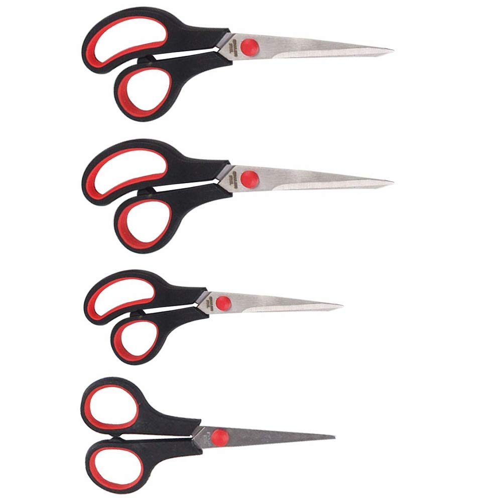 Scissors for Office 4 Pack Stainless Scissors Set Fabric, Leather, Canvas, Vinyl, Paper, Clothes, Shoes, Kitchen, Arts and Crafts, School Supplies A