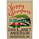 Happy Glampers Personalized Campsite Sign, Motorhome Garden Flag, Customize Your Way (Black/Gray Motorhome)