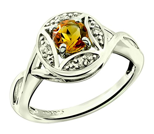 RB Gems Sterling Silver 925 Ring GENUINE GEMS Round 5 mm RHODIUM-PLATED Finish Solitaire Style, Art Deco (7, citrine)