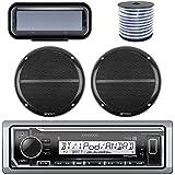Kenwood Bluetooth Radio KMR-M315BT In-Dash Marine Audio Receiver Bundle Combo With Pair Of Enrock 6.5 Dual-Cone Stereo Speakers + Stereo Waterproof Cover + 18g 50FT Marine Speaker Wire (Black)