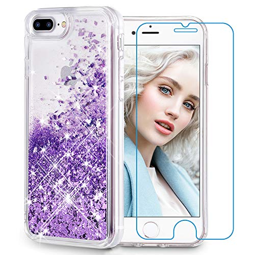 Maxdara iPhone 8 Plus Case, iPhone 7 Plus Glitter Liquid Women Case [Tempered Glass Screen Protector] Floating Bling Sparkle Luxury Pretty Girls Case for iPhone 6 Plus/6s Plus/7 Plus/8 Plus (Purple)