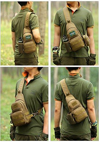 517d0OnTAhL HUNTVP Taktisch Brusttasche Military Schultertasche mit Wasserflasche Halter Chest Sling Pack Molle Armee Crossbody Bag…