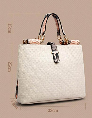 FZHLY British Style Aristocratico Knitting Pattern Borsa A Tracolla,White