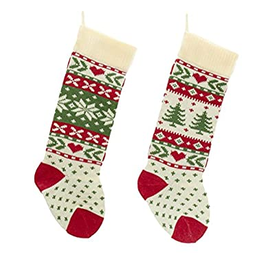 Red, White And Green Christmas Tree And Snowflake Knit Stockings