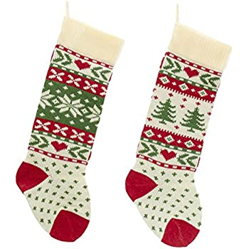 kurt adler red ivory and green christmas tree and snowflake knit stockings - Light Up Christmas Socks