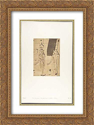 Maxime Du Camp - 18x24 Gold Ornate Frame and Double Matted Museum Art Print - Isis et Horus-Arsiesi - Bas-Relief du Temple de Kalabcheh ()