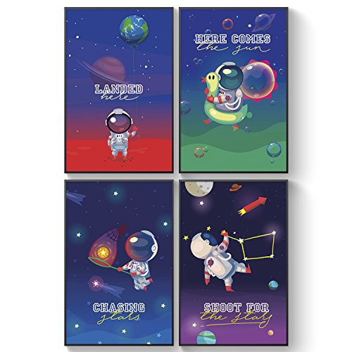 Pillow & Toast Space Bubbles Set of Four Room Decor Posters. Stars, Moon and Planets Baby Room Ideas for Nursery Decoration, Birthday Gifts for Boys & Girls.