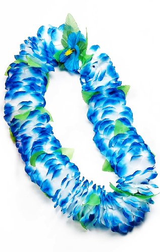 Blue Hawaiian Dress Costume - Forum Novelties Deluxe Color Dipped Blue White Silk Flower Hawaiian Lei