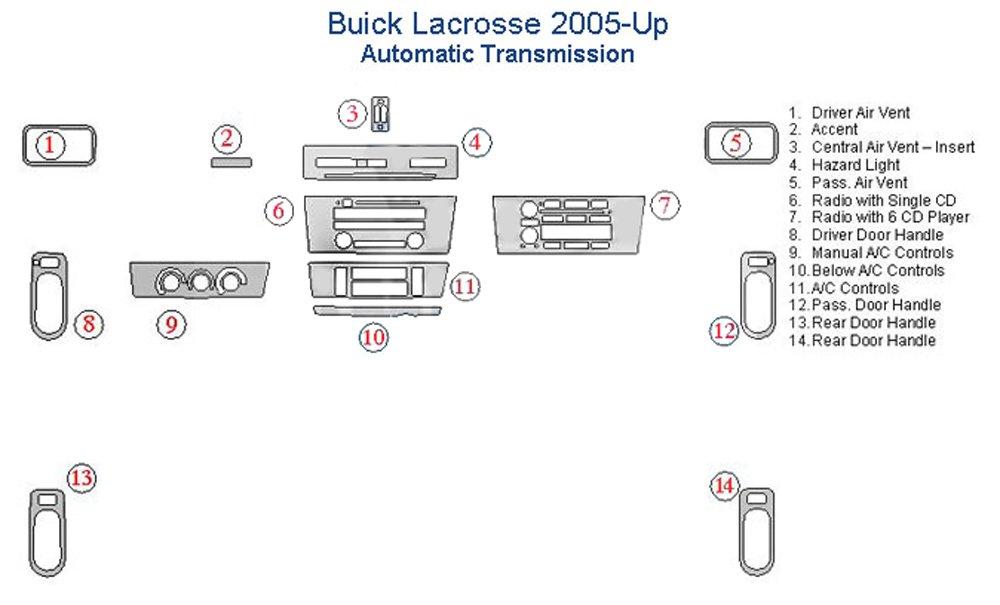 Buick LaCrosse Dash Trim Kit - Real Silver Carbon Fiber