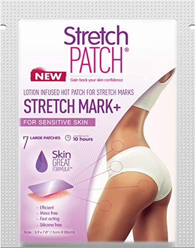 Stretch Patch Stretch Mark+ for Sensitive Skin - Lotion Infused Hot Patch for Stretch Marks 7 Patches per Pack
